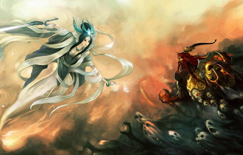 Photo wallpaper girl, magic, the opposition, sword, the demon, skull, ghosts, Art