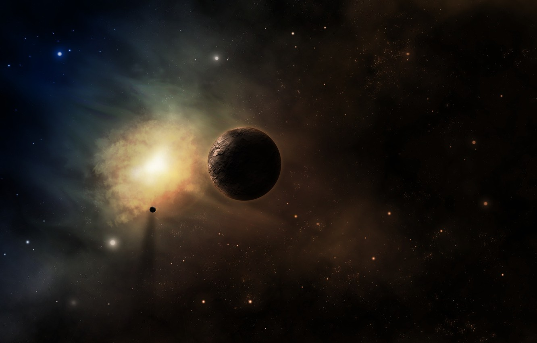 Photo wallpaper space, nebula, planet, nebula