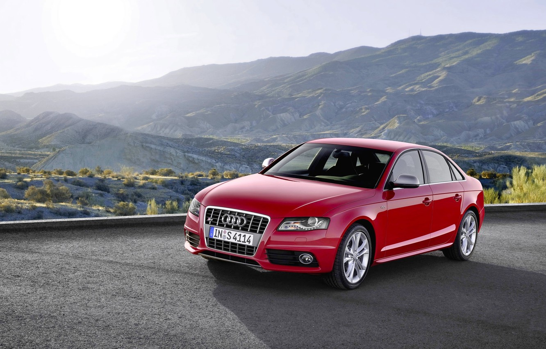 Photo wallpaper Audi, Red, Audi, Machine, The hood, Day, Sedan