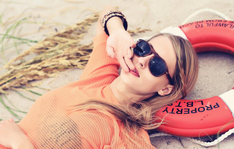 Photo wallpaper girl, glasses, lifeline