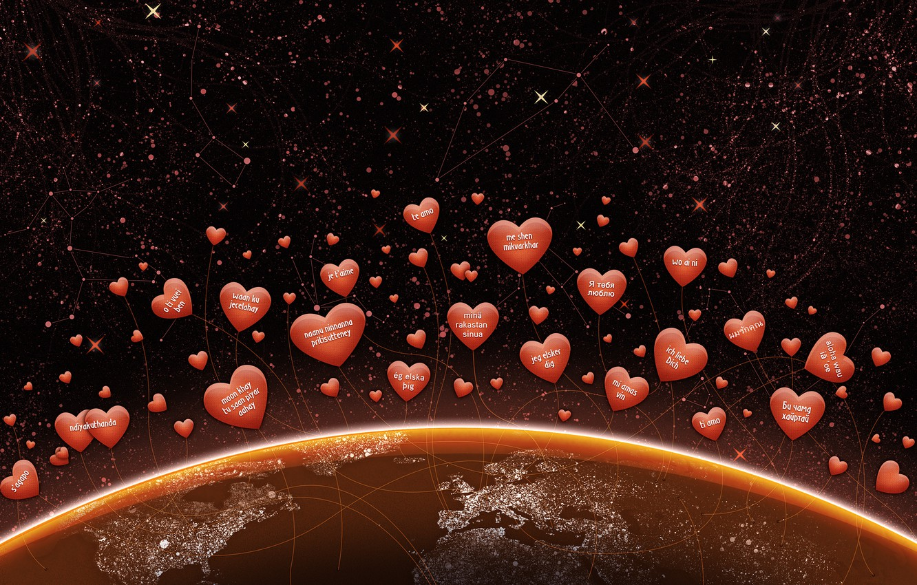 Photo wallpaper stars, love, labels, earth, the world, planet, hearts, continents, Valentine's day, Valentine's day, I love …