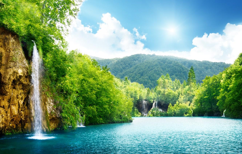 Photo wallpaper sea, the sky, clouds, trees, landscape, nature, lake, waterfall, beautiful, sky, trees, sea, landscape, nature, …
