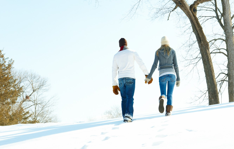 Photo wallpaper winter, girl, snow, love, guy, relationship, mittens, heat, Winter love