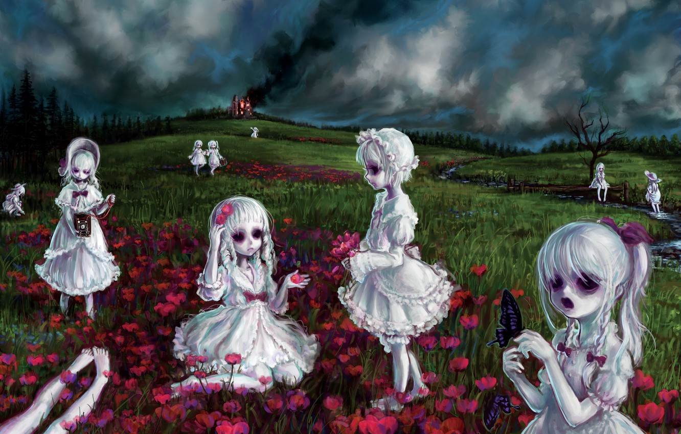 Wallpaper Fire Smoke Doll Monsters Zombies Ghosts Art