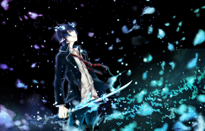 Photo wallpaper weapons, magic, katana, anime, art, horns, guy, ao no exorcist, blue exorcist, okumura rin, kristin13