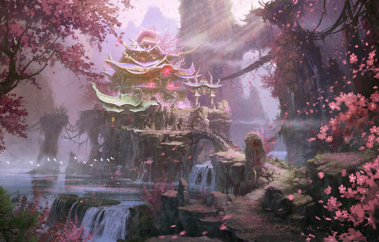 Photo wallpaper trees, landscape, mountains, rocks, Asia, spring, art, temple, waterfalls, flowering