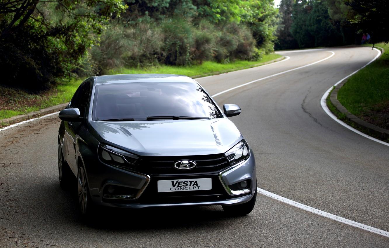 Photo wallpaper road, car, sedan, silver, Lada, Lada, Vesta, Vesta