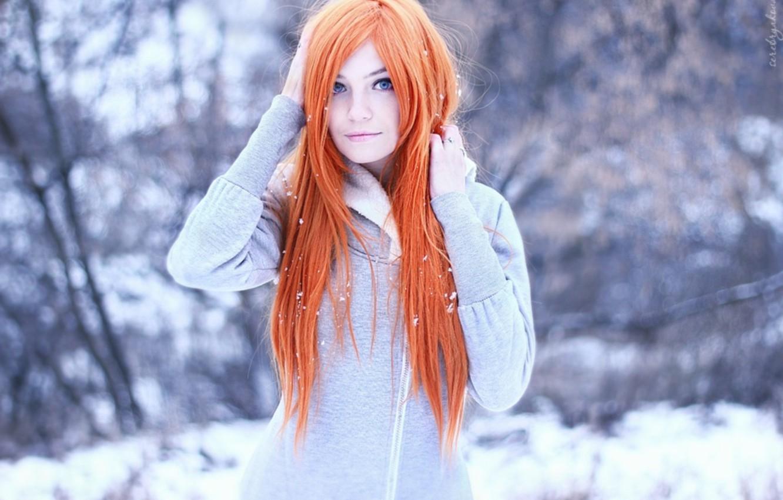 Photo wallpaper winter, sweetheart, red, redhead