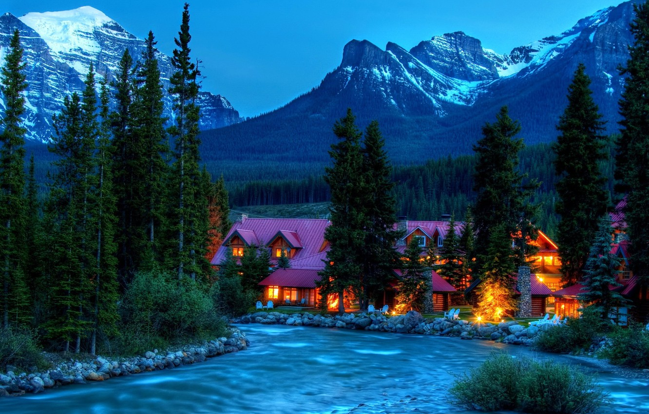 Photo wallpaper forest, snow, trees, mountains, house, river, stones, rocks, the hotel, nature.