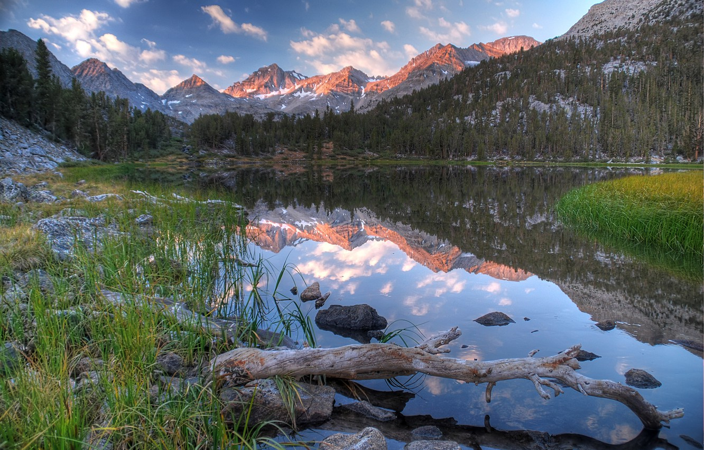 Photo wallpaper USA, California, Sunrise, Rock Creek, Heart Lake