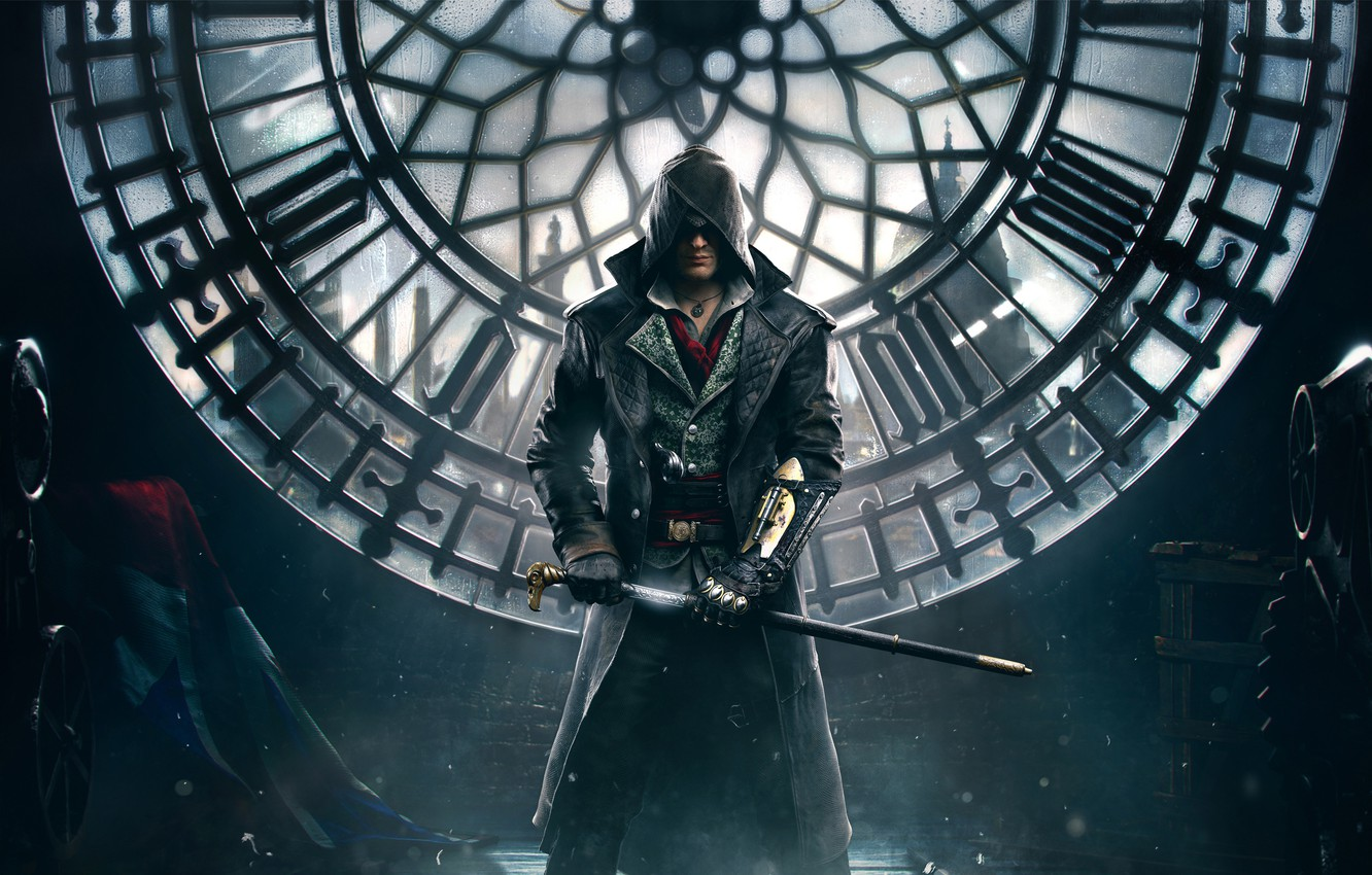 Photo wallpaper weapons, watch, London, tower, hood, cane, cloak, killer, blade, character, Syndicate, Assassin's Creed, Assassin's Creed: …