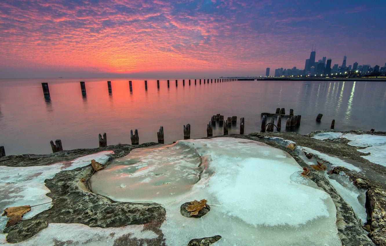 Photo wallpaper ice, Chicago, Beach, water, sunrise, Lake, Michigan, Fullerton