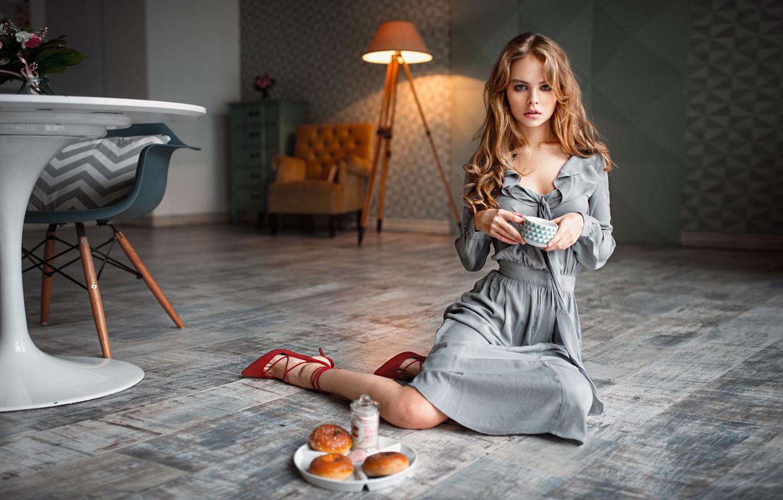 Photo wallpaper girl, long hair, dress, style, photo, photographer, food, blue eyes, model, lips, face, living room, …