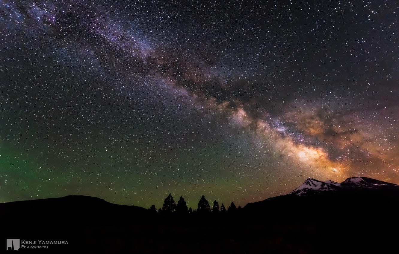 Photo wallpaper the sky, stars, mountains, night, beauty, The milky way, photographer, Kenji Yamamura