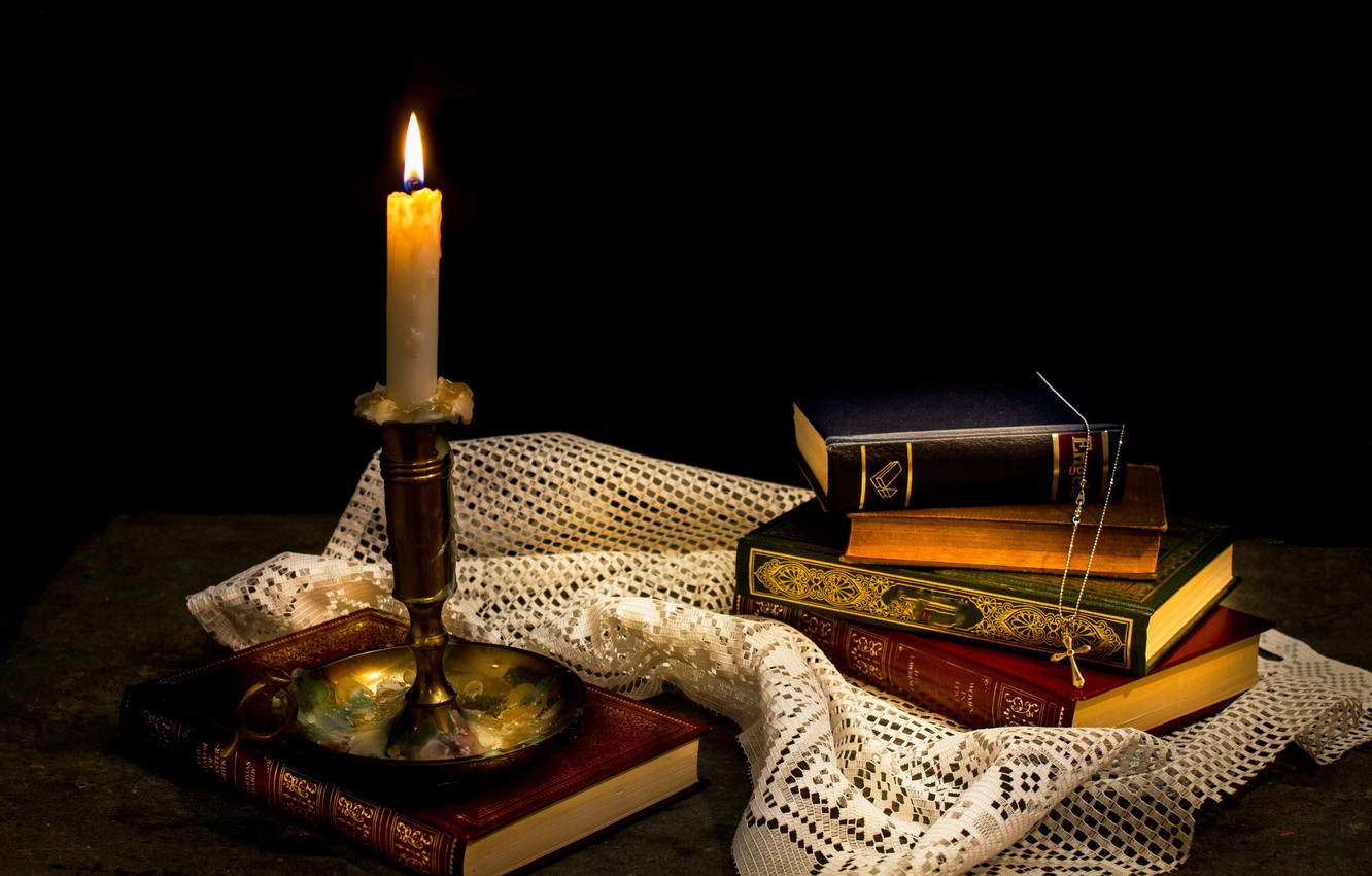 Photo wallpaper books, candle, wax, cross, Still life¬