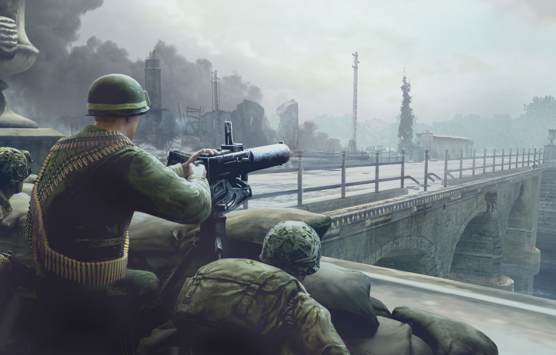 Photo wallpaper bridge, the city, war, soldiers, machine gun, Company of Heroes