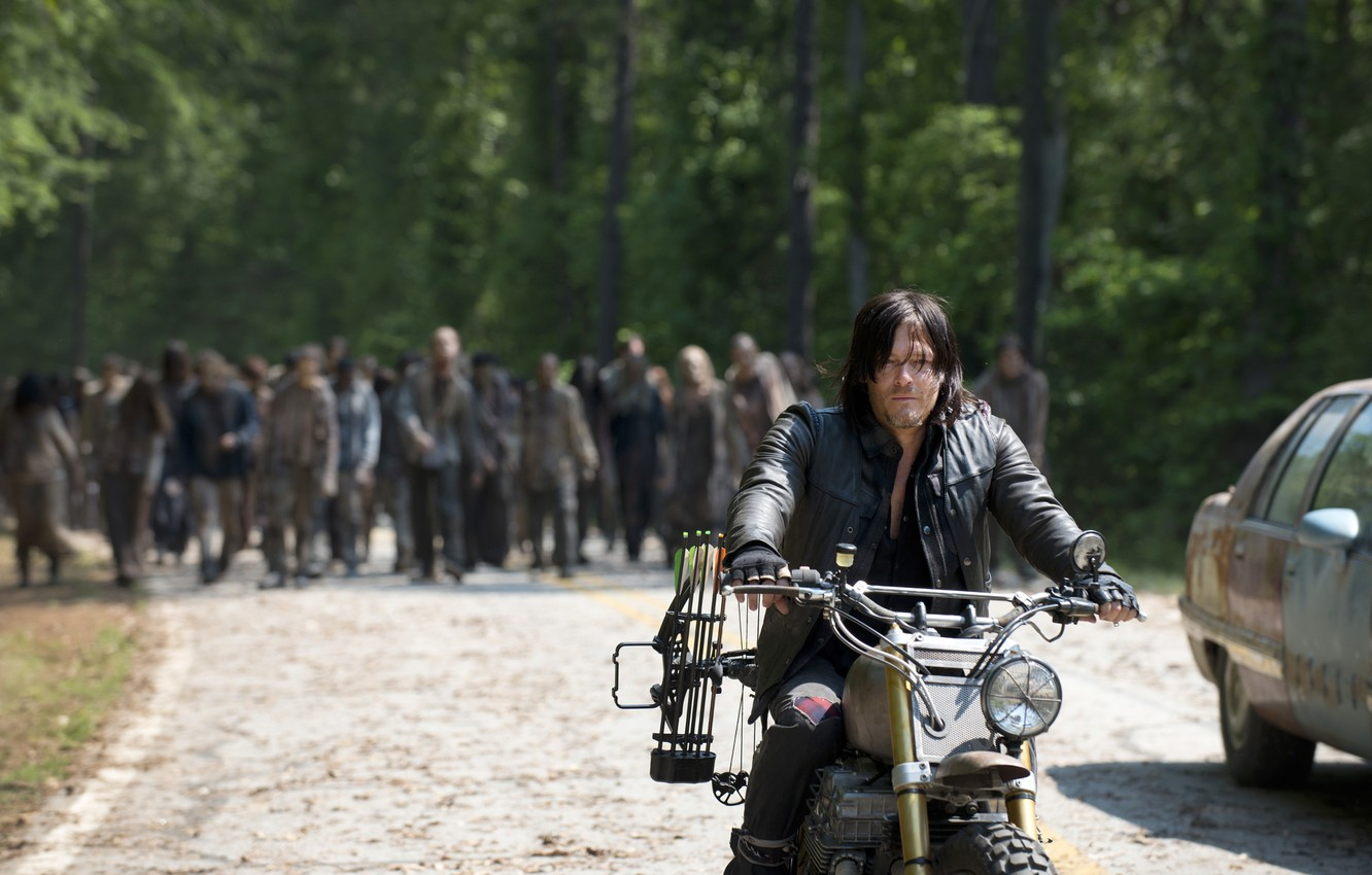 Photo wallpaper road, forest, zombies, bike, The Walking Dead, The walking dead, Norman Reedus, Daryl