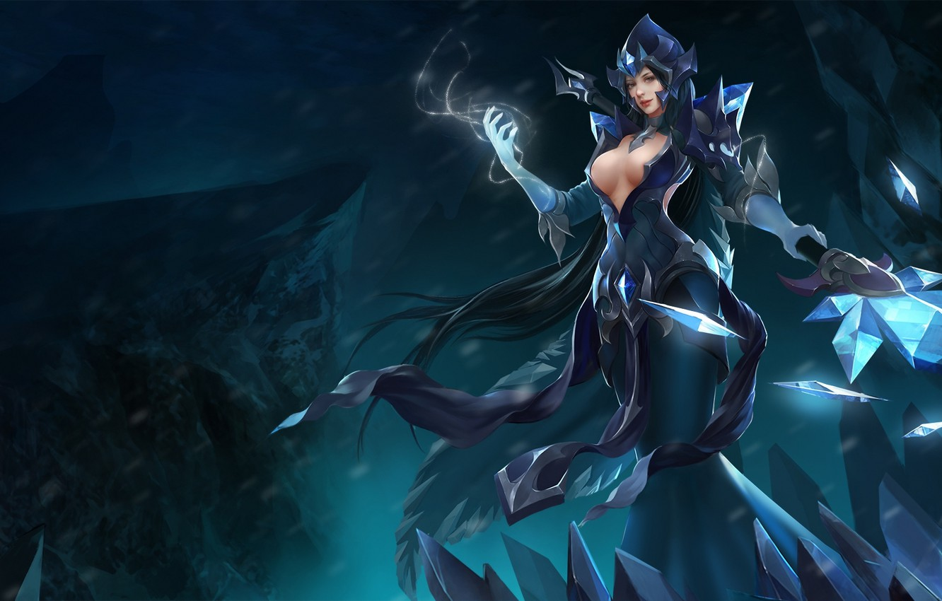 Wallpaper Chest Girl Mag Hon Heroes Of Newerth Ellonia Black Ice Ellonia Images For Desktop Section Igry Download