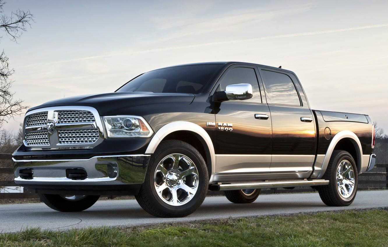 Photo wallpaper road, the sky, grass, jeep, Dodge, Dodge, pickup, the front, 1500, Ram, REM, laramie, crew …