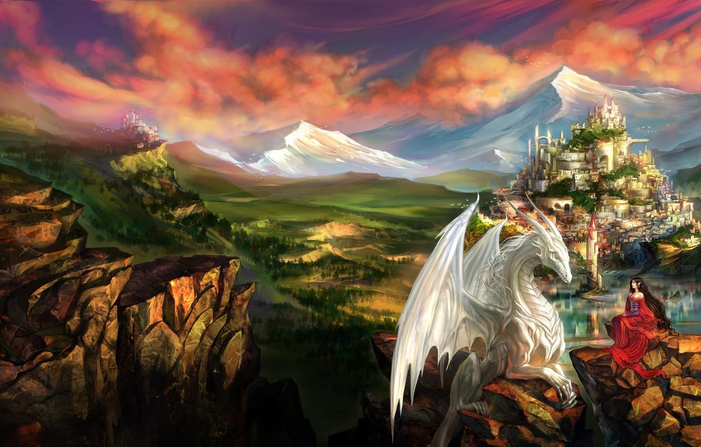 Photo wallpaper girl, landscape, mountains, the city, castle, rocks, dragon, elf, fantasy, art, elf