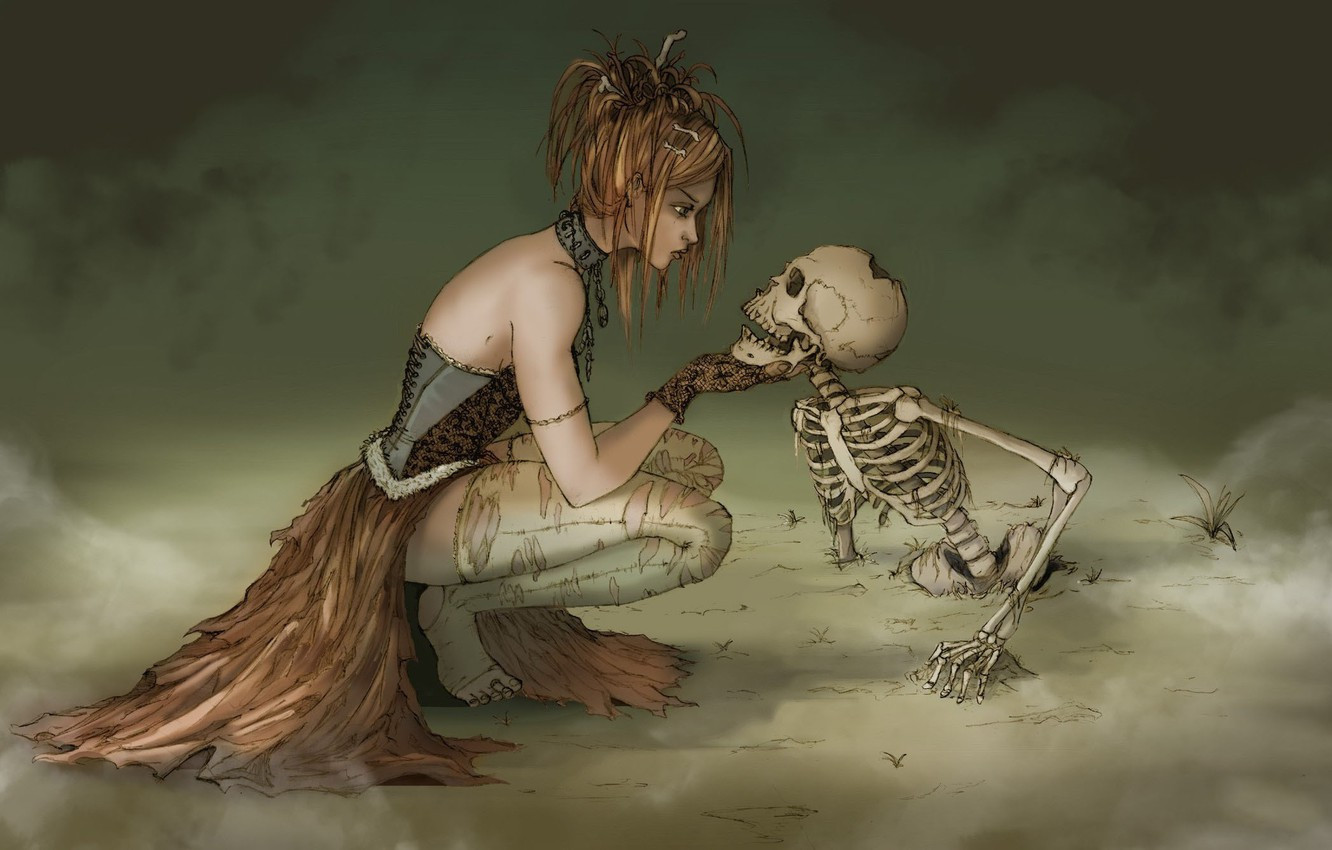 Photo wallpaper fog, skeleton, witch, witch