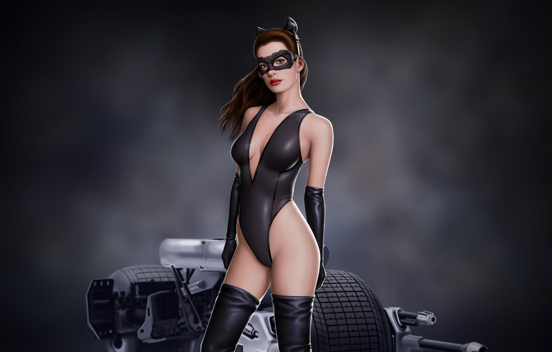 Photo wallpaper look, batman, mask, art, art, catwoman, anne hathaway