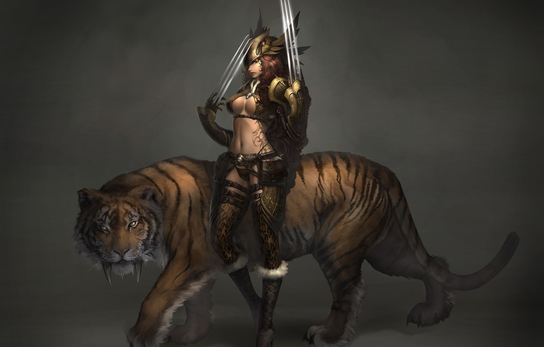 Photo wallpaper girl, tiger, weapons, art, tattoo, Atlantica online, Sabretooth