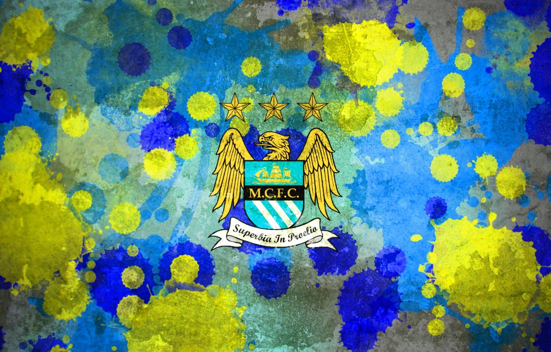 Photo wallpaper emblem, Splash, Grunge, Manchester City, Texture