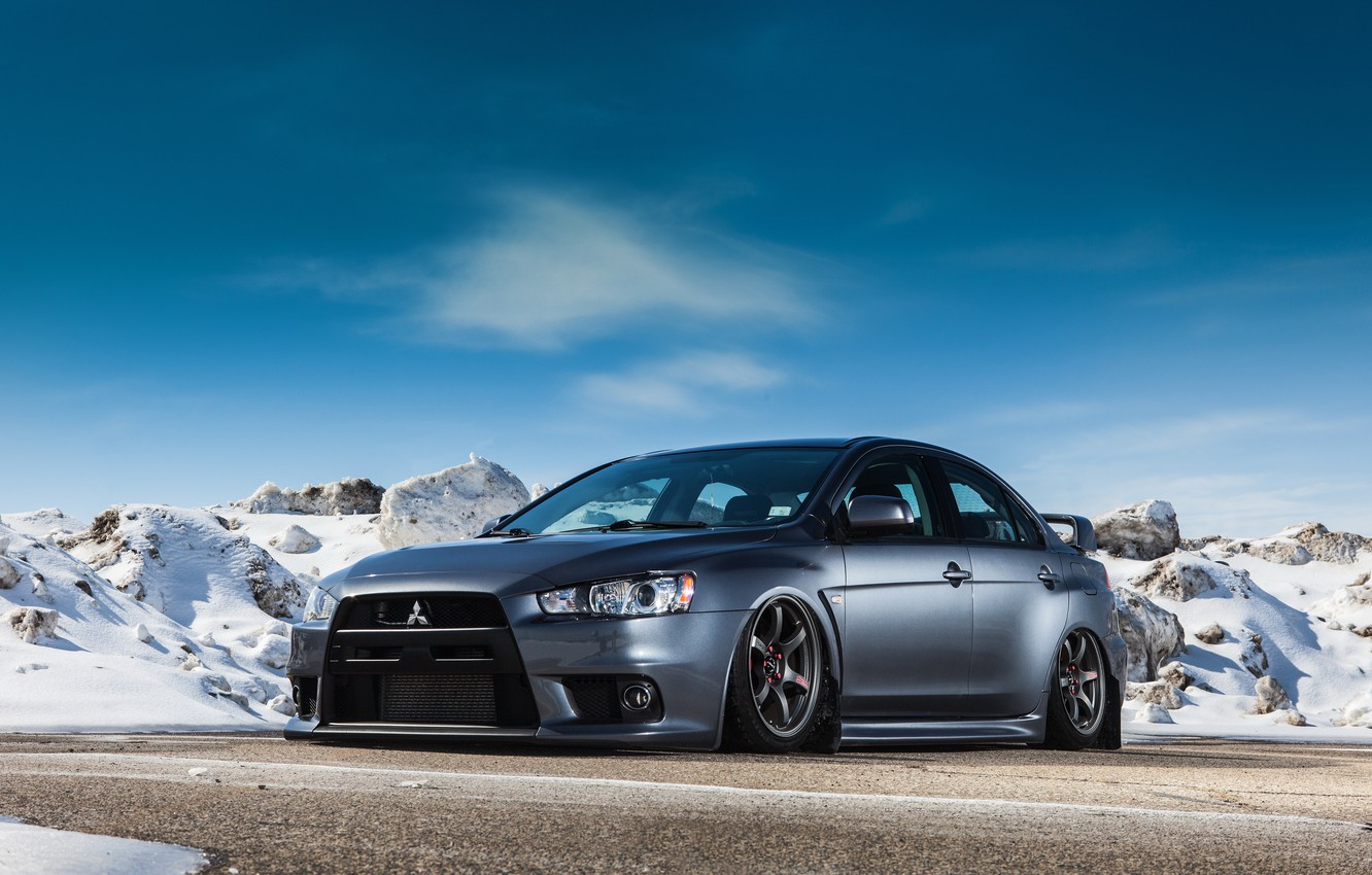Photo wallpaper mitsubishi, lancer, evolution, winter