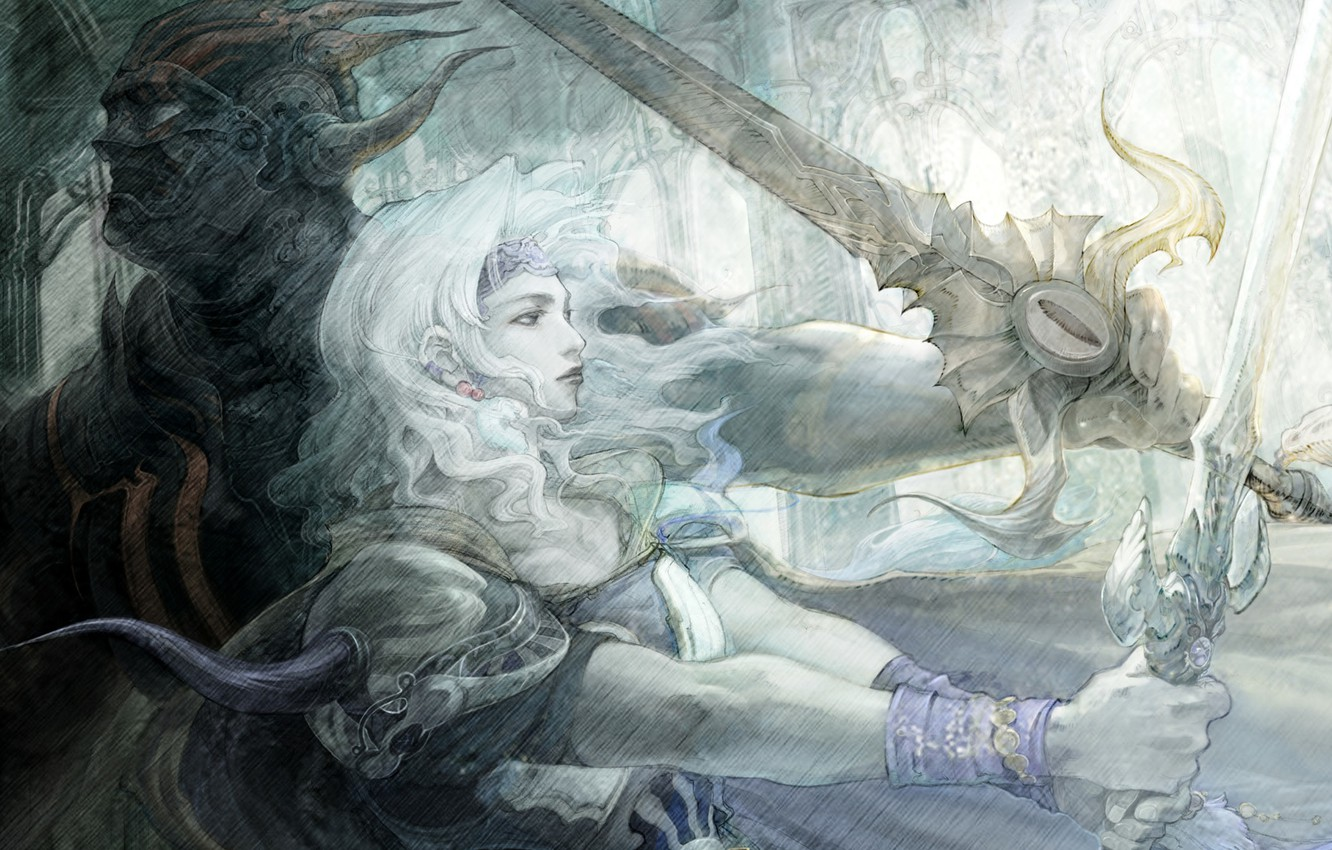 Wallpaper Final Fantasy Yoshitaka Amano Final Fantsy Iv Cecil Images For Desktop Section живопись Download