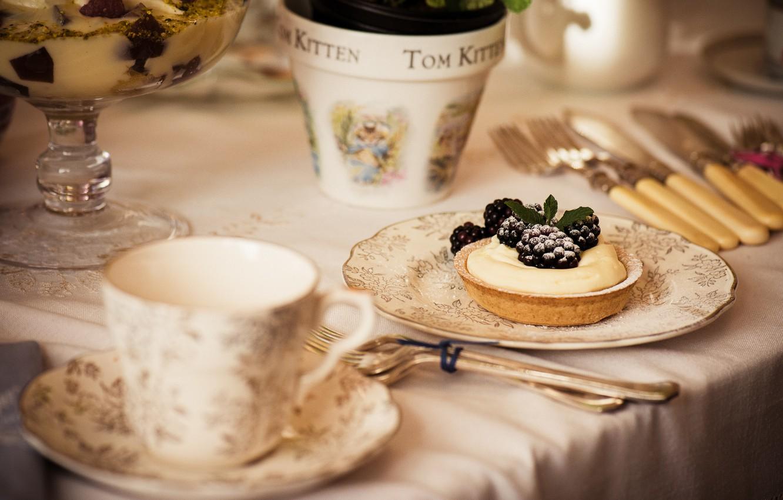 Photo wallpaper food, pie, cream, dessert, BlackBerry, sweet, sweet, dessert, blackberry, tart