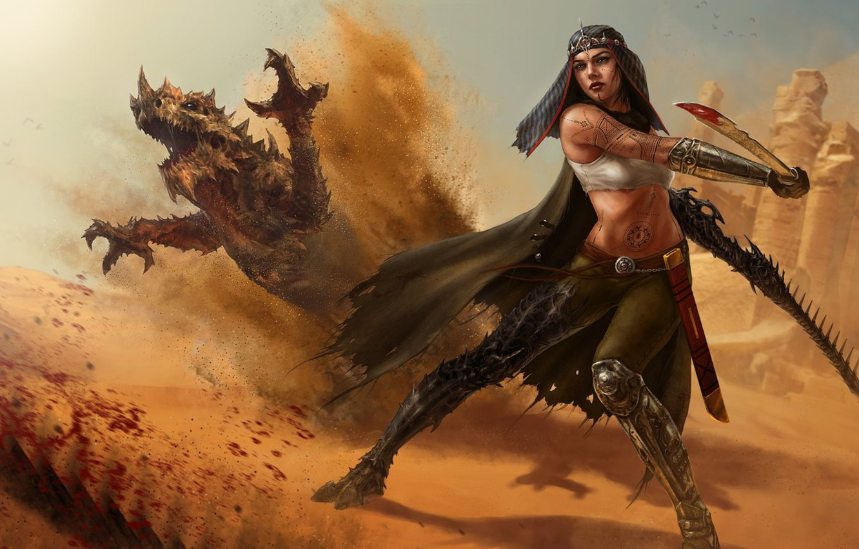 Photo wallpaper sand, girl, blood, dragon, sword, tattoo, art