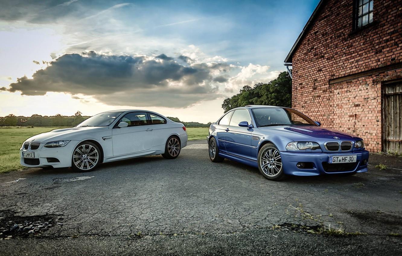 Photo wallpaper white, the sky, grass, asphalt, trees, blue, bmw, BMW, e92, e46