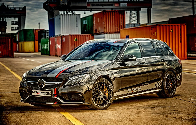 Photo wallpaper black, Mercedes-Benz, Mercedes, AMG, Black, AMG, universal, C-Class, S205, Performmaster