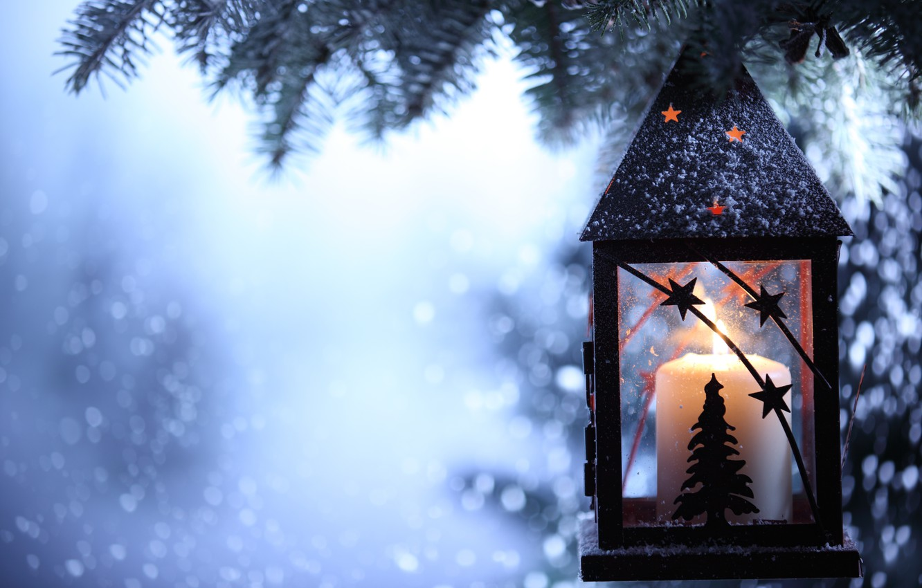 Photo wallpaper winter, snow, snowflakes, candle, spruce, branch, flashlight, lantern, tree, candle holder