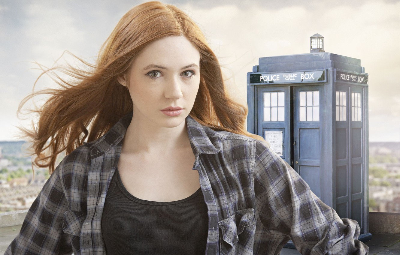 Photo wallpaper look, girl, actress, the series, Doctor Who, redhead, Doctor Who, the TARDIS, police box, Karen …