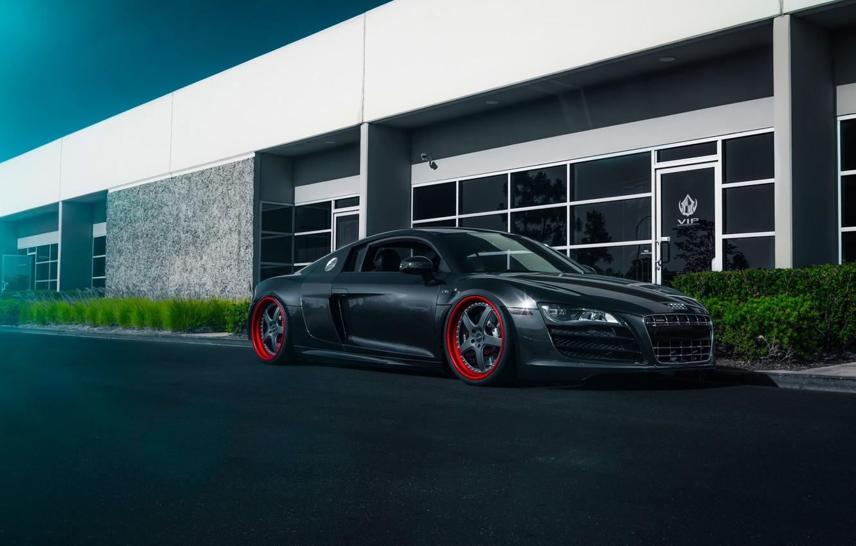 Photo wallpaper Audi, Blue, Front, Road, Supercar, Wheels, Ligth, Stancenation