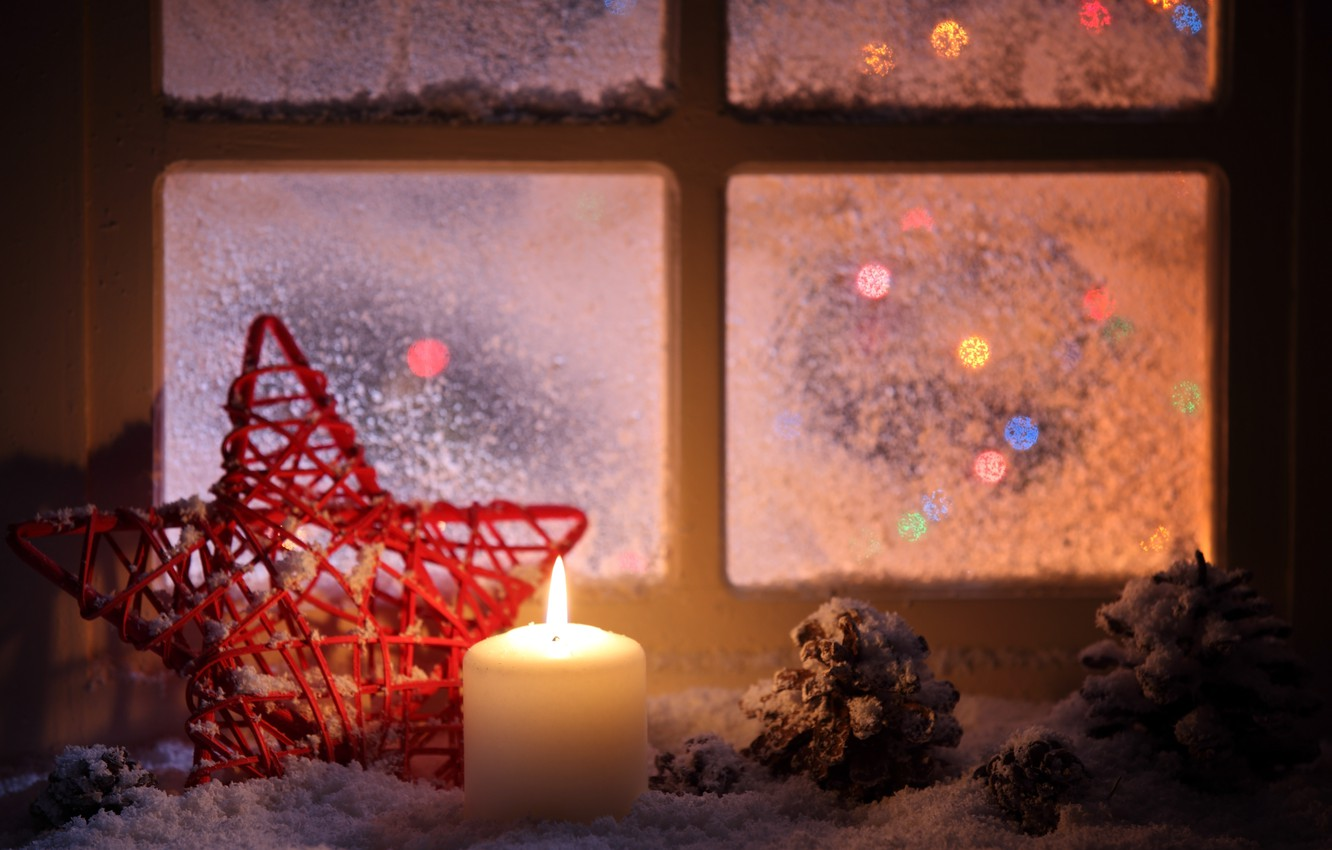 Photo wallpaper winter, snow, star, candle, the evening, window, sill, red, bumps