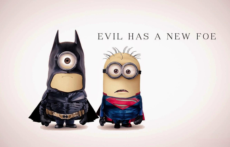 Photo wallpaper fantasy, Batman, Superman, funny, film, superhero, Minions, Minion, parody, costumes, evil has a new foe