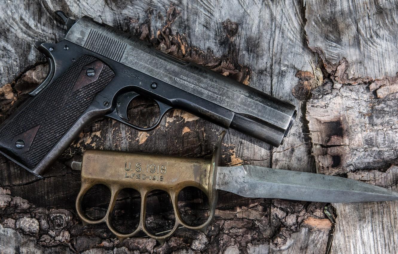 Photo wallpaper gun, weapons, knife, model, holster, M1911, self-loading, trench, «U.S.1918 mark I»