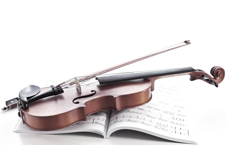 Photo wallpaper notes, violin, notebook, bow