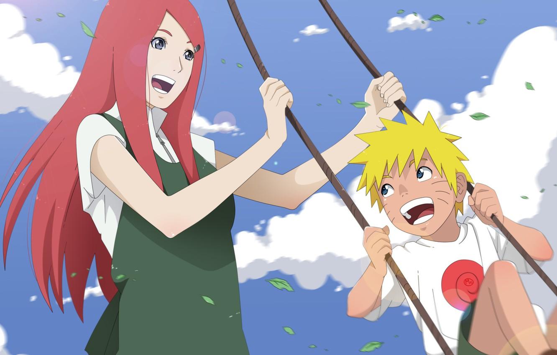 Photo wallpaper the sky, Anime, Naruto, Naruto, smile, Sunny day, swing, Kushina Uzumaki, happiness, Uzumaki Naruto, Uzumaki …