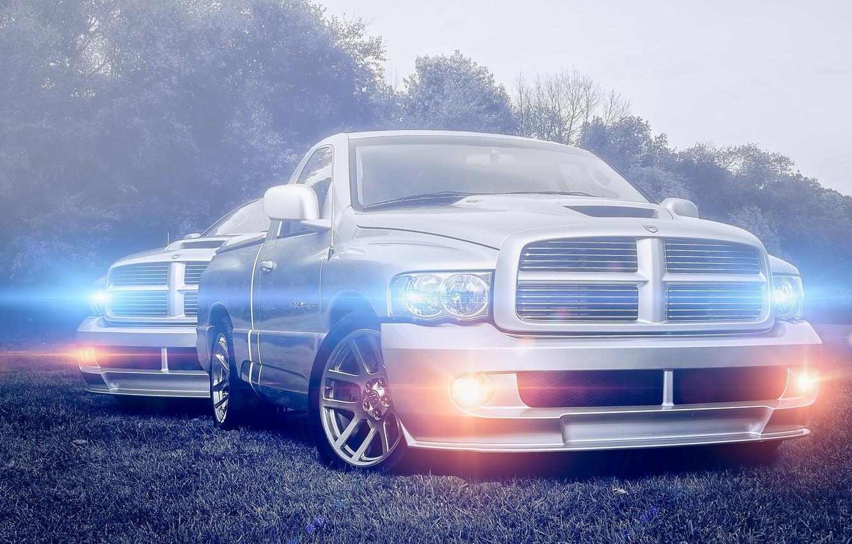 Photo wallpaper glare, silver, Dodge, Dodge, pickup, front, pickup, silvery, Ram