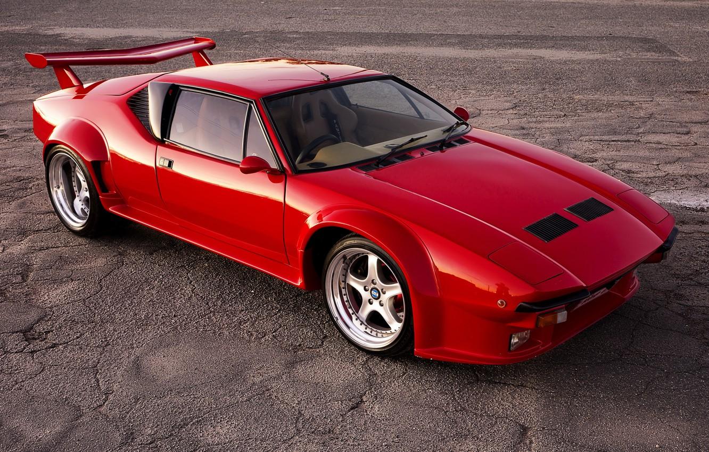 Photo wallpaper car, auto, supercar, red, De Tomaso Pantera