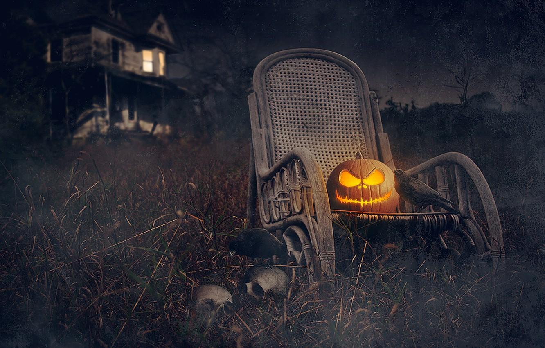 Photo wallpaper night, house, holiday, Halloween, pumpkin, skull, Halloween, rooks