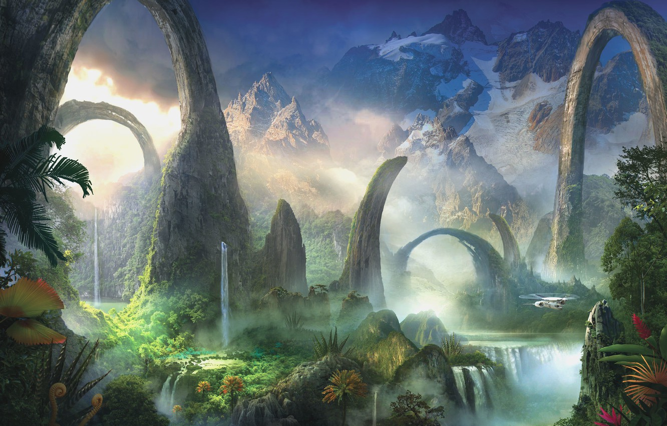 Photo wallpaper greens, water, landscape, mountains, plants, art, helicopter, arch, waterfalls, fantasy world