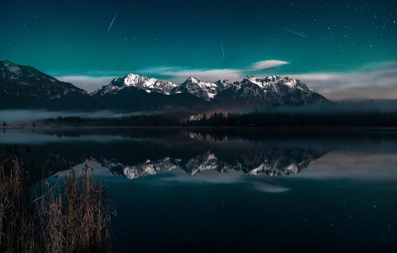 Photo wallpaper Light, Clouds, Blue, Galaxy, Milky Way, Lake, Long, Comet, Exposure, Barmsee