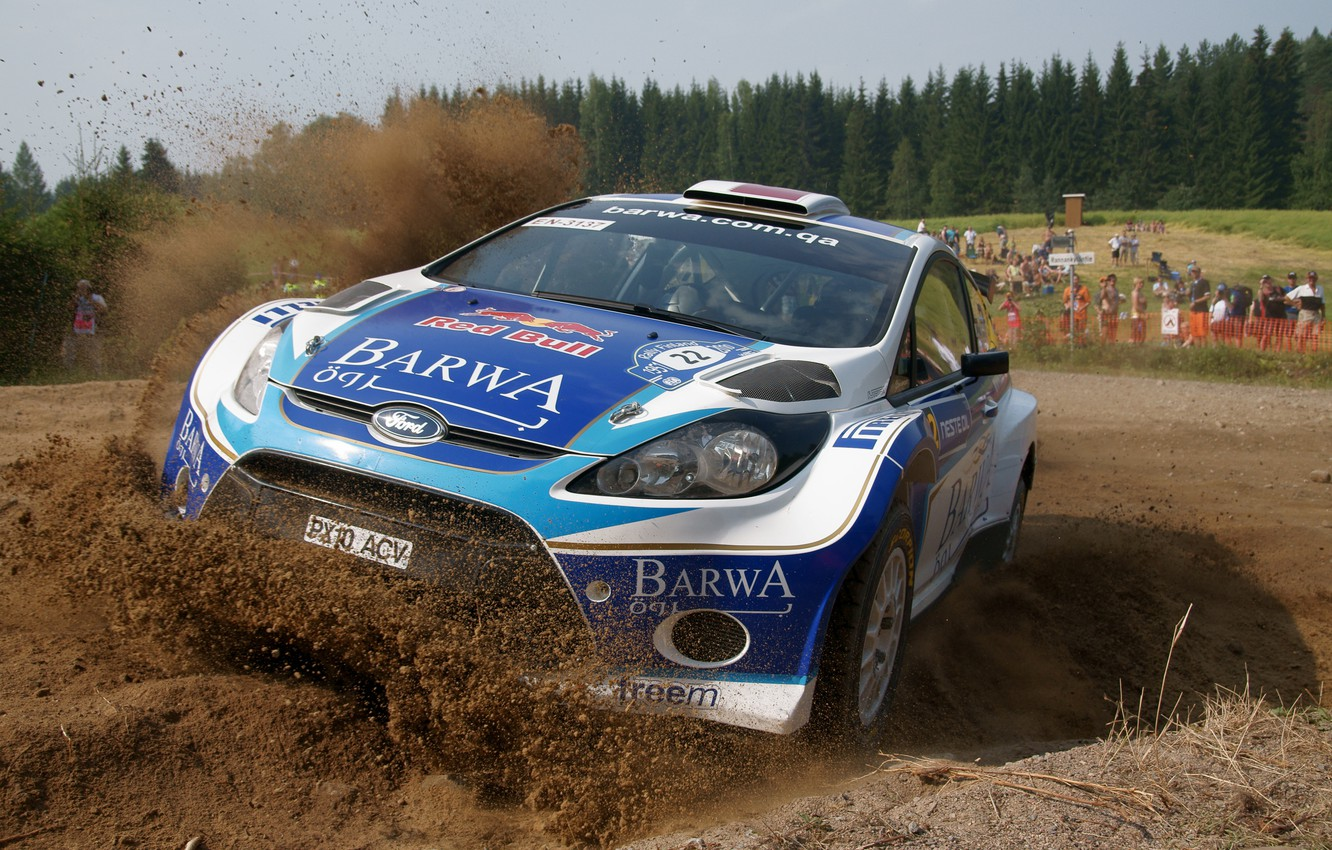 Photo wallpaper Ford, Forest, People, Turn, The hood, Skid, WRC, Rally, Rally, The front