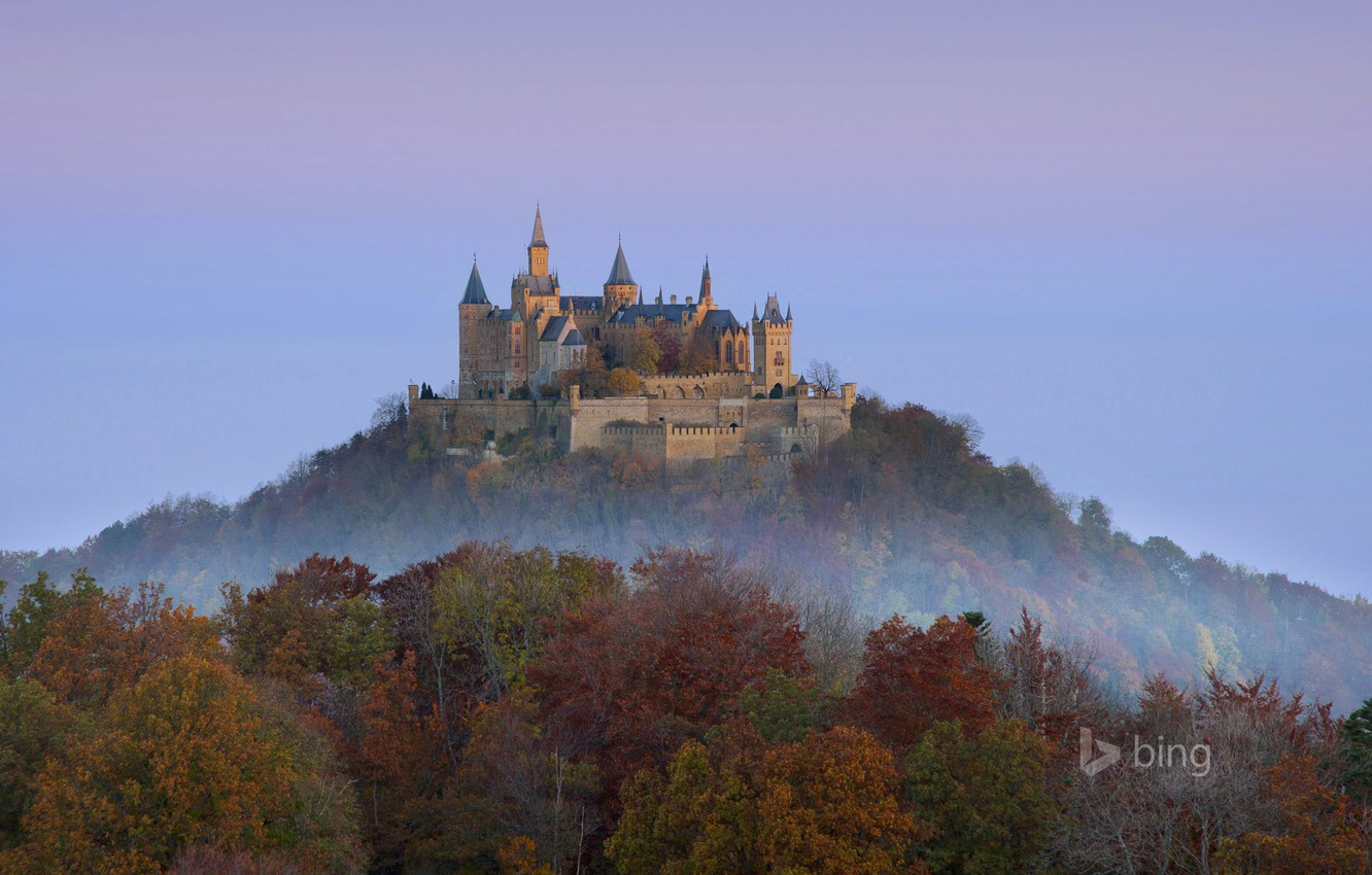 Photo wallpaper autumn, forest, the sky, trees, mountain, Germany, Hohenzollern castle