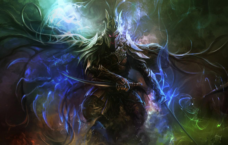 Photo wallpaper magic, armor, Warrior, swords, burning eyes